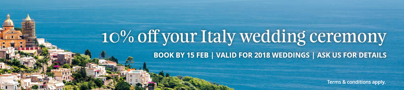 10% off your Italy wedding ceremony