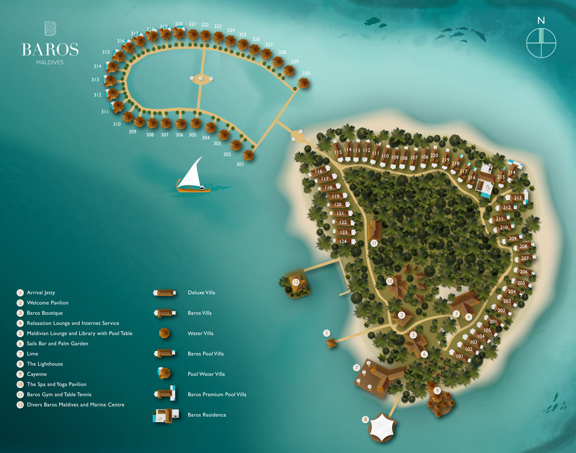 Baros Maldives island map