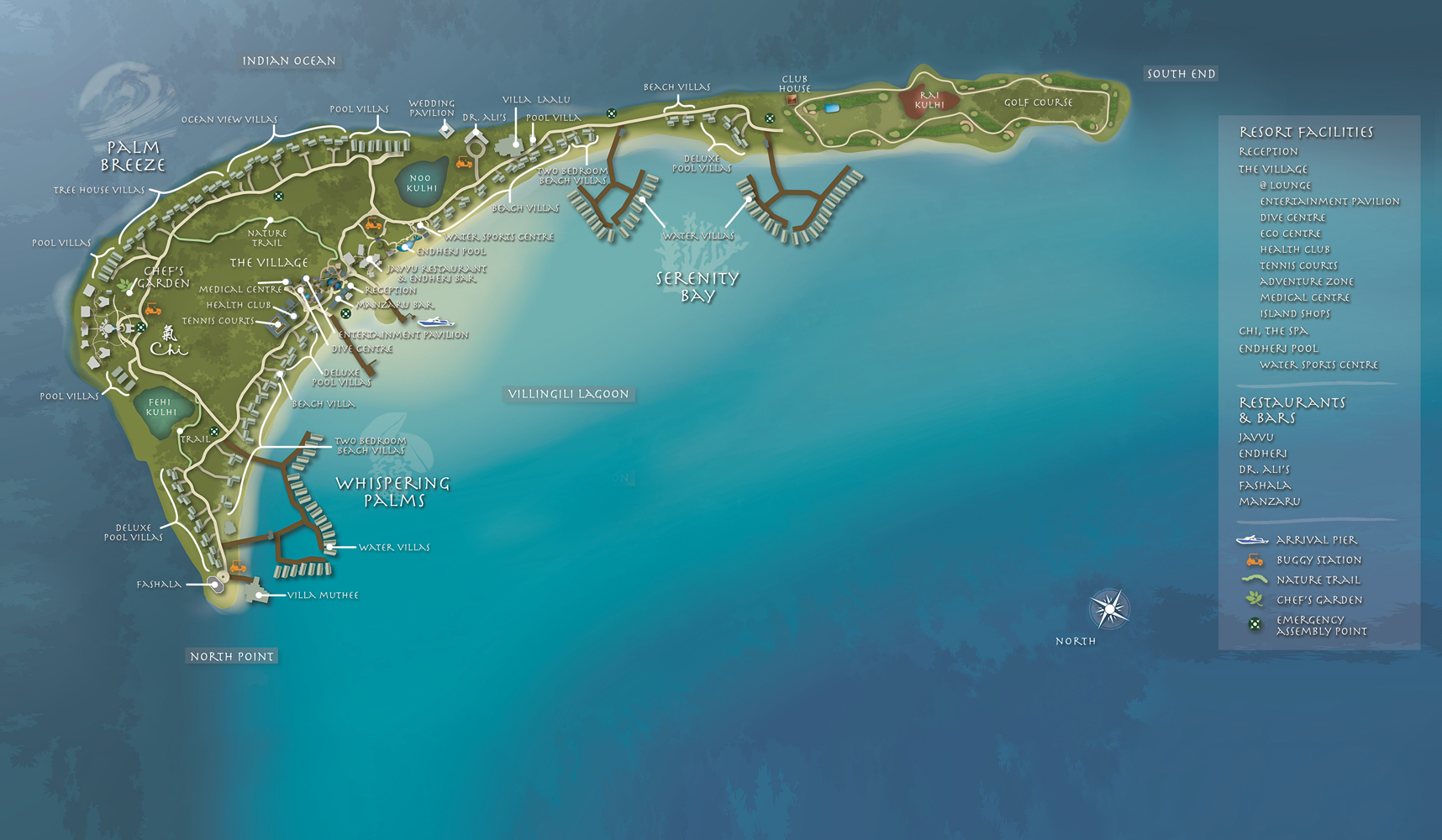 Shangri-La's Villingili Resort & Spa island map