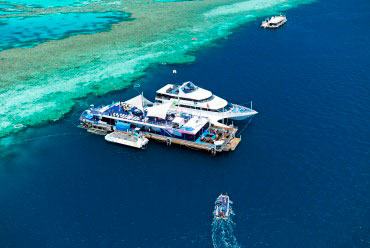 Boat on Great Barrier Reef
