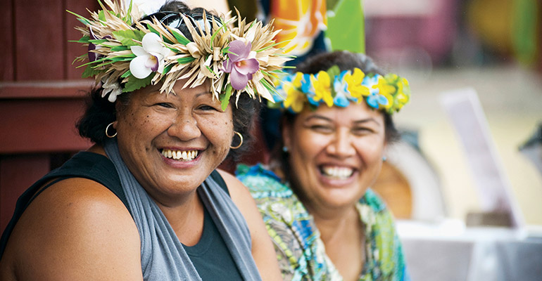 Local ladies at market in the Cook Islands