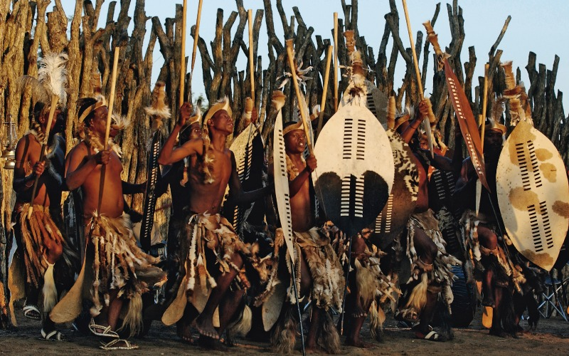 Zulu warriors perform ceremonial dance