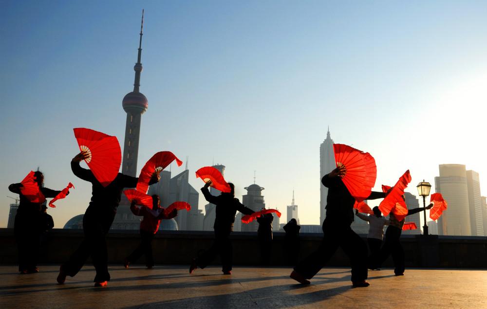 Fan dancing in Shanghai