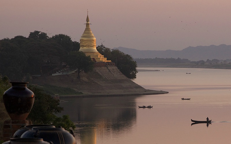 Golden temple on Irrawaddy River