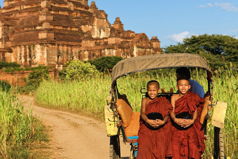 Young monks on way to temple