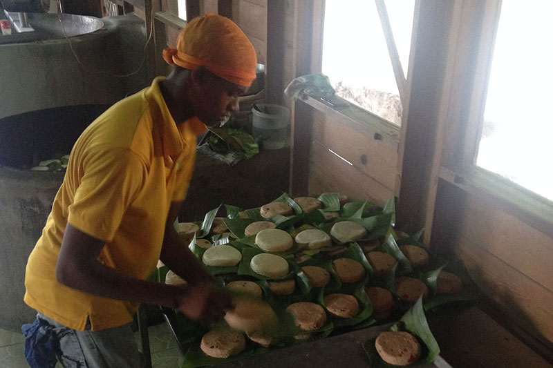 Making Cassava Bread at Plas Kassav