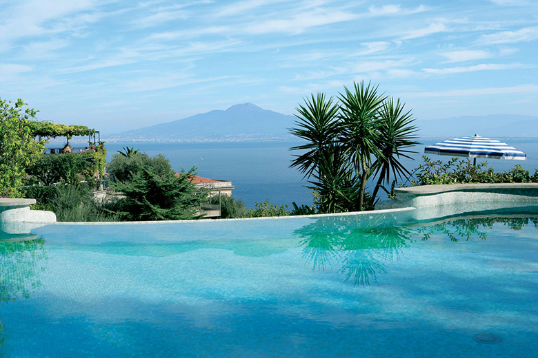 View of Vesuvius from pool