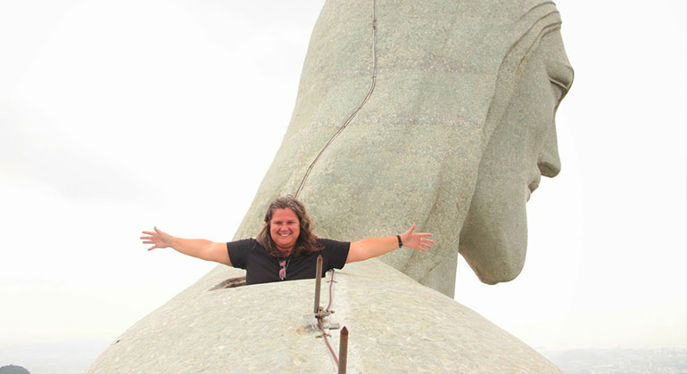 Sonia Lima on top of Christ the Redeemer