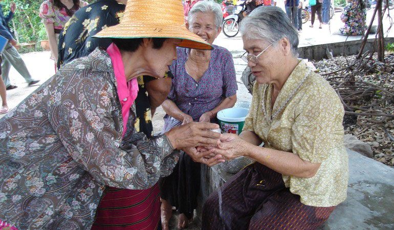 Looking after elders at Songkran