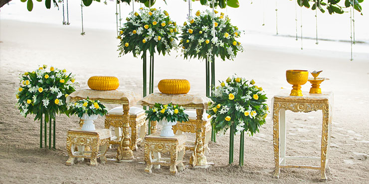 Beach wedding at The Sarojin