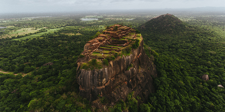 Aerial view of Sigiriya Rock
