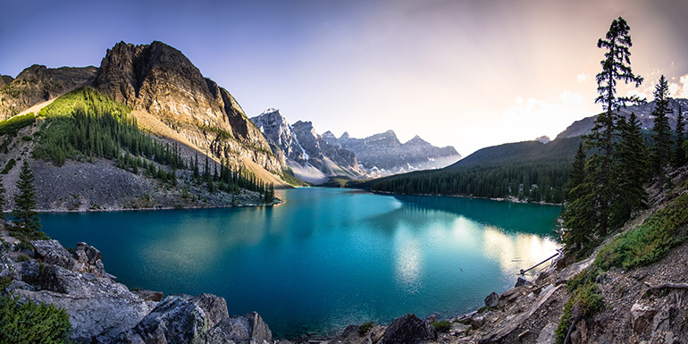 Lake Moraine in Banff National Park, Canada