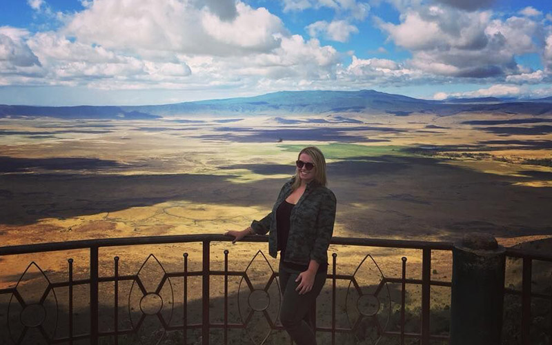 Kuoni Personal Travel Expert, Claire King, at the Ngorongoro Crater