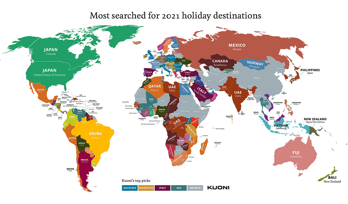 2021 Most Searched Destinations